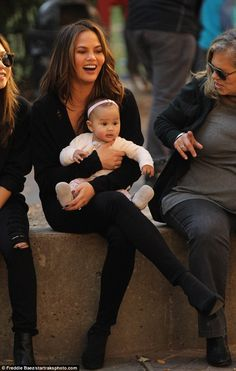 Awwdorable: Chrissy Teigen was spotted enjoying some bonding time at a park in new York Ci...
