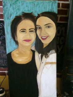 Mother and Daughter-Oil paint