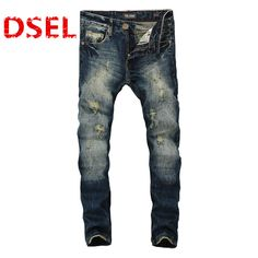 Fashion Dark Blue Print Jeans Men Original Brand Jeans Ripped Denim Trousers Men`s Jeans High Quality Male Jeans B608