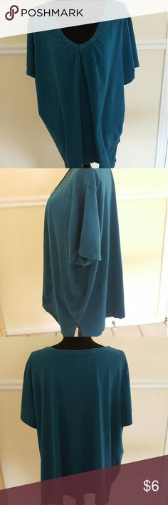 Turquoise Short Sleeve V-Neck Pull Over Shirt Turquoise Short Sleeve V-Neck Pull Over Shirt   Neck is 15 inches Chest is 27 inches Length is 25 inches Sleeve is 15 inches  Woman Within 3X Gently Used. Brushed Cotton. Very Comfy. Free of Stains or Tears.  Price is firm, add to bundle to decrease price. Woman Within Tops Tunics