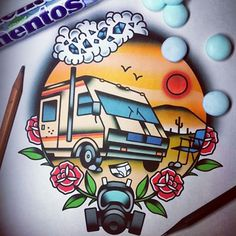 #tattoo #tattoos #tattooflash #breakingbad #walterwhite #heisenberg #art #traditional  #sketch #artsy #instasize #instaart #geek #nerd #show #geektattoo #design #draw #oldschool #traditionaltattoo #derickjames #food #sweet #mentos #cook