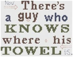 Douglas Adams cross stitch
