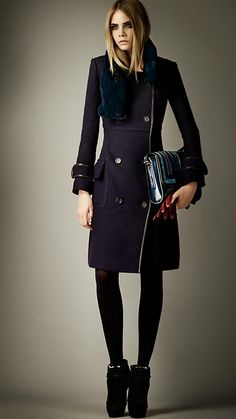 Fur Collar Bouclé Wool Top Coat | Burberry