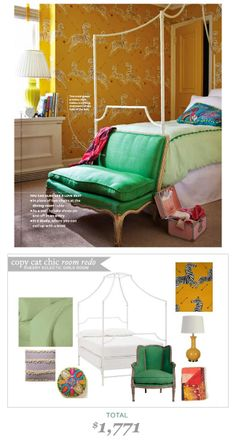 Cheery Eclectic Girl's #Bedroom from #LadiesHomeJournal | #CopyCatChicRoomRedo by @Chelsea Horsley | Yours Truly  for only $1771