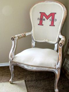 French Rustic Feed sack chair by LittleGoatChic on Etsy, $75.00