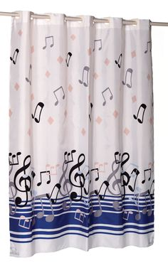 The EZ On shower curtain features built in shower rings that simply snap over your existing shower curtain rod! Water repellent material - does not require a separate shower curtain li Shower Curtain Rods, Fabric Shower Curtains, Music Items, Music Stuff, Covered Patio Design, Home Studio Music, Retro Fabric, Music Decor, Good Music