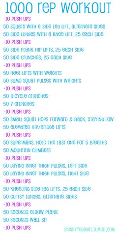 1000 rep workout - this will make it to my bootcamp class.