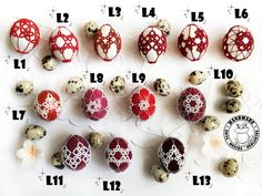 SHADES OF RED and white Easter eggs on real eggshells Easter | Etsy Handmade Home, Etsy Handmade, Easter Toys, Easter Table Decorations, Lace Decor, Handmade Ornaments, Shades Of Red, Easter Baskets, Red And White