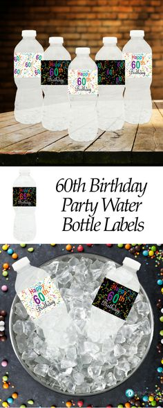 Multi Colored 60th Birthday Party Water Bottle Labels