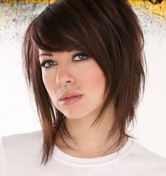 Inverted layered bob with bangs
