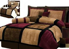 7 Pieces Brown Burgundy and Black Suede Patchwork Comforter Size 90 X 92 Bedding Set Bed-in-a-bag Queen Machine Washable by Chezmoi Collection new 14999 6445 2 used new from the Most Wished For in Comforters Sets King Size Comforter Sets, King Size Comforters, Twin Comforter, Comforter Cover, Bed Sets, Bed In A Bag, Black Bedding, Tan Bedding, Bed Spreads