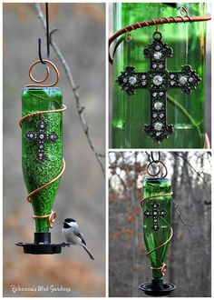 New in the Etsy shop! The Blue Sky Bistro! I up-cycle a blue Skyy Vodka bottle to make these feeders - so availability depends on i. Empty Wine Bottles, Recycled Bottles, Diy Crafts For Home Decor, Cute Crafts, Skyy Vodka, Decorative Bird Houses, Bottle Crafts, Vodka Bottle, Water Bottle