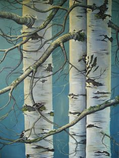aspen tree - plant pvc pipes by bldg Nx door painted like this. Screw into siding at bottom & top. Watercolor Trees, Watercolor Landscape, Landscape Paintings, Painting Trees, Watercolor Painting, Landscapes, Birch Tree Art, White Birch Trees, Aspen Trees