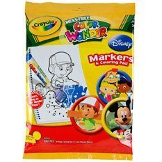 Crayola Color Wonder Markers & Coloring Pad Set; Disney Characters; no. BIN752129 by Crayola. $13.48. Set Sold as 1 Each. Little artists will love this set, complete with five fabulous Color Wonder markers and an 18-page coloring pad featuring their favorite (and handiest) Disney character. Parents will love the mess-free markers that color only on special Color Wonder paper. The fun is non stop! Pages include action scenes with Handy Manny! Recommended for ages 3 and up.