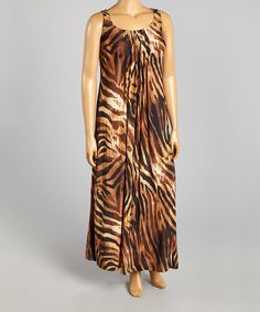 Another great find on #zulily! Brown & Black Tiger Maxi Dress - Plus by Glamour #zulilyfinds