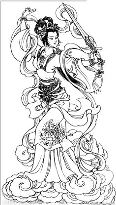 Adult Coloring Book Pages, Coloring Pages To Print, Japanese Drawings, Japanese Art, Colouring Pics, Coloring Books, Tattoo Oriental, Art Asiatique, China Art