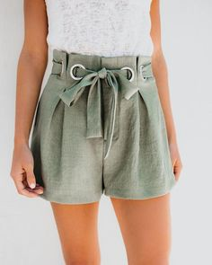 Game On Grommet Tie Shorts Cute Comfy Outfits, Cool Outfits, Casual Outfits, Girl Fashion, Fashion Outfits, Womens Fashion, Fashion Design, Fancy Blouse Designs, Tie Shorts