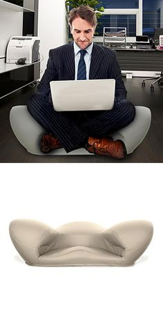 """Alexia Meditation Seat """"Ergonimically Correct for the Human Physiology"""" Zen Yoga Ergonomic Chair Foam Cushion Home or Office (Light Grey - Vegan Leather)"""