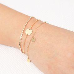Dainty Gold Bracelet Tiny Disk Bracelet Layered Friendship Minimalist Delicate gold filled or Silver Bracelet Everyday Jewelry.