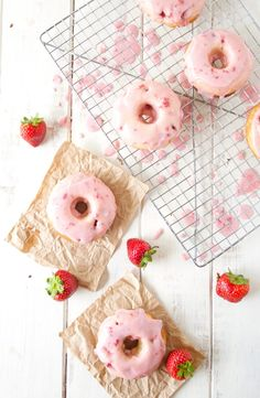Strawberry Buttermilk donuts: http://www.stylemepretty.com/2015/10/03/strawberry-buttermilk-donuts-with-strawberry-glaze/ | Recipe: A Happy Food Dance - http://ahappyfooddance.com/