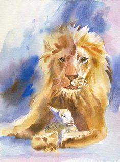 Lion and Lamb Watercolor   Bible Print  Christian by kathyjurek