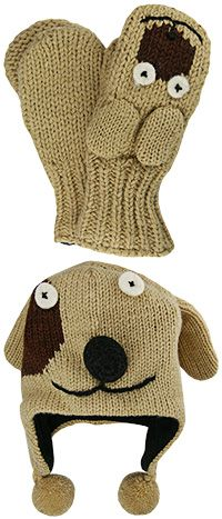 Handknit Dog Hat & Mittens at The Animal Rescue Site