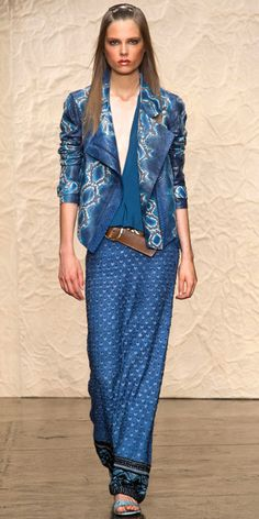 DONNA KARAN: Hand-painted python jacket, viscose stretch georgette top, embroidered skirt