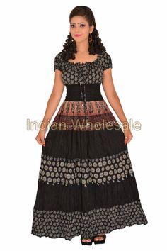 Indian Women Cap Sleeves Cotton Printed Black Long Tunic Mexi Dress IWUS4010 #Handmade