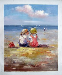 "16"" by 20"" - Children palying At The Beach - Nr.19 - Museum Quality Oil Painting on Canvas Art by Artseasy on Etsy"