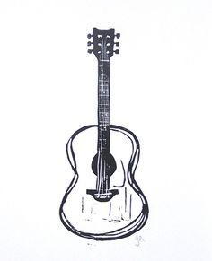 PRINT - Black acoustic guitar linocut print 8x10 Minimal letterpress poster
