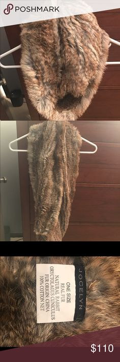 Jocelyn Rabbit Fur Infinity Scarf Light brown and gray infinity scarf. Never worn. Received as gift. Sold at Saks, Neiman Marcus, Nordstrom Accessories Scarves & Wraps