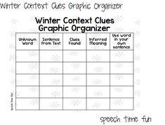 Winter Context Clues Graphic Organizer FREEBIE! - Speech Time Fun