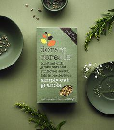 bursting with jumbo oats and sunflower seeds Cereal Packaging, Fruit Packaging, Food Packaging Design, Packaging Design Inspiration, Plastic Packaging, Packaging Ideas, Granola, Muesli, Dorset Cereals