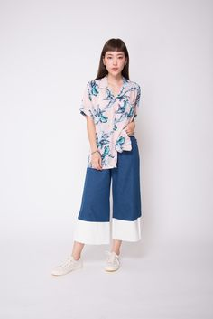 Freshen up with azure and pink! Style this buttoned up as a top with a pair of wide-legged pants, or as an outerwear over your beach coordinates. Wide Leg Pants, Hawaiian, Casual Dresses, Dressing, Banana, Pink, Shirts, Color, Tops