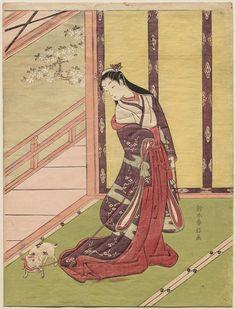 The Third Princess and her Cat by Suzuki Harunobu鈴木春信