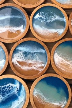 Ocean waves bamboo beach coasters epoxy resin handmade art - Art Studio Vibes - My resin DIY projects are intensely messy, but that's okay, because I always get an insanely wond - Diy Resin Art, Epoxy Resin Art, Diy Resin Crafts, Diy Epoxy, Wood Resin, Etsy Crafts, Wood Crafts, Decor Crafts, Resin Artwork