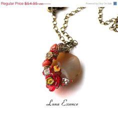 OnSale Jewelry Pendant Red Jasper Aventurine Floral by LunaEssence, $43.96