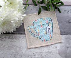 Fabric Coaster, Mug Coaster, Applique Coaster, Fabric Gift, Drinks Coaster, Gift For A Tea Lover by TheCornishCoasterCo on Etsy