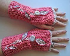 Valentine pink fingerless gloves crochet vintage lace felt wool. $34.00, via Etsy.