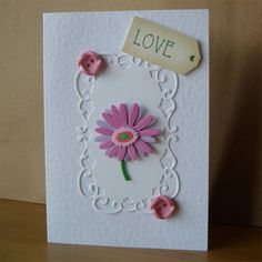 LOVE - Pink Gerbera Mother's Day Card by Aunty Joan Crafts @Folksy