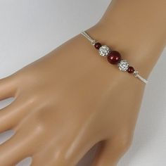Wine Red Wedding Bracelet Personalized by alexandreasjewels