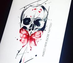 Skull and Butterfly drawing by Marco Pepe