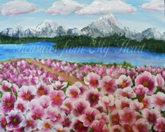 Original Painting Field of Flowers by TreasuresHeart on Etsy, $75.00