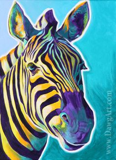 Print of Colorful Zebra Painting by Alicia VanNoy Call.    Original was acrylic on canvas. This bright artwork will make a wonderful addition to any
