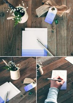Easy dip dye technique for homemade cards. Super cute gift wrap idea! It only takes a Ziploc® container, some dye, nice paper, and a few minutes!