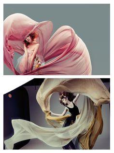 flowy, billowy fabrics, pink, beigey gray