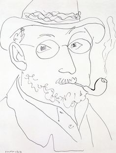 """dappledwithshadow: """"Self-Portrait with Pipe Henri Matisse 1945 Private collection Drawing - chalk Height: 52 cm in.), Width: 40 cm in. Matisse Drawing, Matisse Art, Henri Matisse, Love Painting, Painting & Drawing, Collages, Simple Line Drawings, Drawing Skills, Pencil Portrait"""