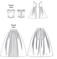 pattern for historical costume corset with tie up back and skirt, you can always use another skirt patttern Modern Sewing Patterns, Mccalls Patterns, Vintage Patterns, Clothing Patterns, Cosplay Rapunzel, Rapunzel Dress, Flat Sketches, Renaissance Costume, Cosplay Diy