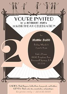 Invite Roaring 20s Birthday Party 20th 40th Parties Ideas