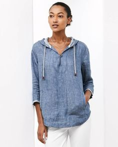 Poetry - Indigo linen tunic - In our soft, washed indigo linen twill, this versatile smock-style top has a proper sized hood with a drawstring close, a buttoned placket and two jetted side pockets. Designed to finish on the thigh, with three-quarter length sleeves and a curved hemline that is slightly longer at the back. 100% linen